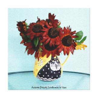 Tournesols de beauté d'automne dans le vase toile tendue sur châssis