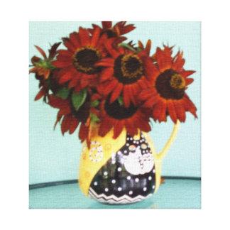 Tournesols de beauté d'automne dans le vase impressions sur toile