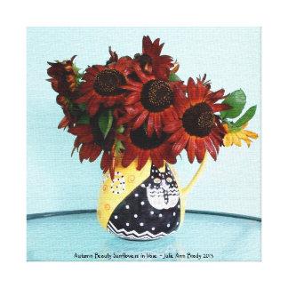 Tournesols de beauté d'automne dans le vase toiles tendues