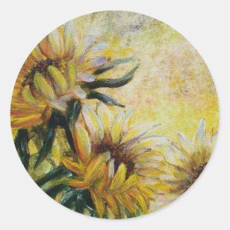 Tournesols de matin, peinture florale sticker rond