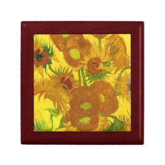 Tournesols de Van Gogh quinze en beaux-arts de Petite Boîte À Bijoux Carrée