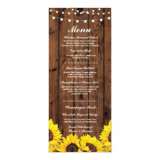 Tournesols en bois rustiques de réception de carton d'invitation  10,16 cm x 23,49 cm