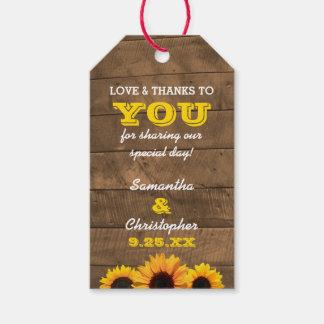 Tournesols et étiquettes de Merci de mariage d'or