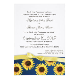 Tournesols et mariage campagnard de ruban invitations personnalisées