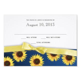 Tournesols et réponse de mariage campagnard de cartons d'invitation