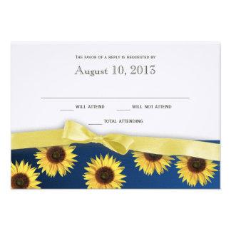 Tournesols et réponse de mariage campagnard de rub cartons d'invitation