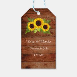 Tournesols rustiques de fougère épousant étiquettes-cadeau