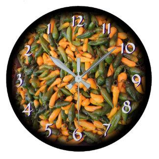 Tournez de retour les poivrons du Horloge-Chili de Grande Horloge Ronde