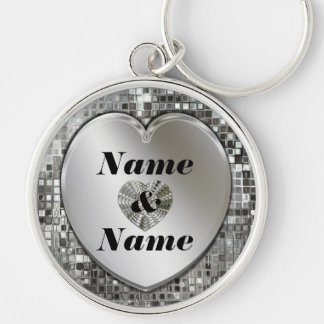 Tous noms sur le grand porte - clé de porte-clé rond argenté