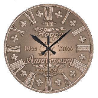 Tout anniversaire de mariage de regard d'en cuivre grande horloge ronde