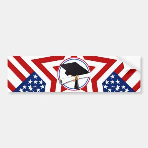 Tout le diplômé américain - blanc rouge et bleu su autocollant pour voiture