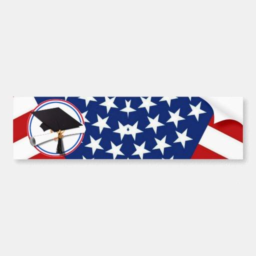 Tout le diplômé américain - blanc rouge et bleu su adhésif pour voiture