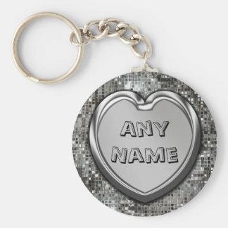 Tout nom sur le porte - clé argenté de coeur porte-clé rond