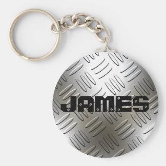 Tout nom sur le porte - clé de plat de diamant en porte-clé rond
