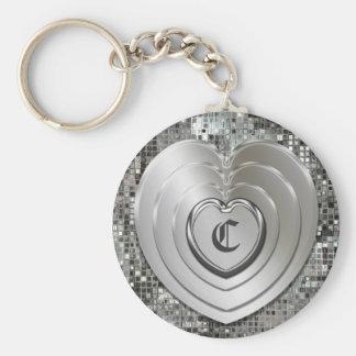 Tout porte - clé argenté initial de coeurs porte-clé rond