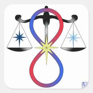 Toute la couleur universelle de puissance de dieux sticker carré