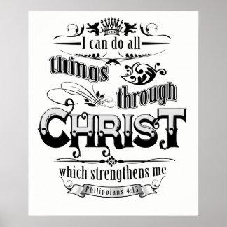 Toutes les choses par le T-shirt chrétien Poster