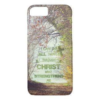 Toutes les choses par le vers de bible du Christ Coque iPhone 7