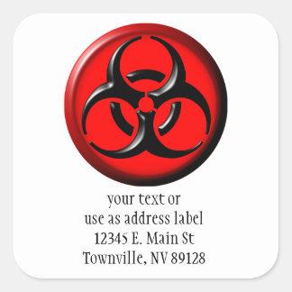 Toxique de BioHazard - rouge Sticker Carré