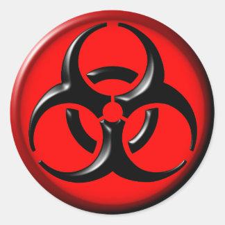 Toxique de BioHazard - rouge Sticker Rond