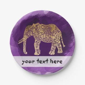 traçage tribal de pourpre d'éléphant de feuille assiettes en papier