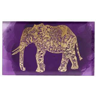 traçage tribal de pourpre d'éléphant de feuille porte-carte de table