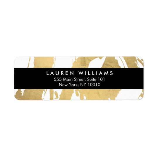 Traçages abstraits d'or de Faux sur le blanc Étiquette D'adresse Retour