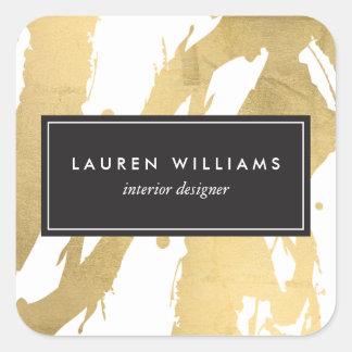 Traçages abstraits d'or de Faux sur le blanc II Sticker Carré