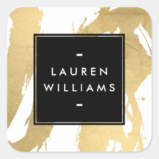 Traçages abstraits d'or de Faux sur le blanc Sticker Carré