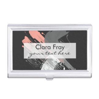 traçages blancs et gris roses de corail élégants porte-cartes de visite