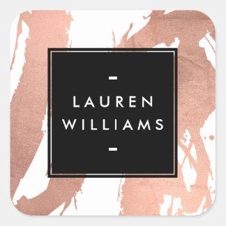 Traçages roses d'or de résumé sur le blanc sticker carré