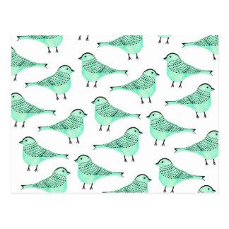 Traçages verts originaux de noir d'oiseau cartes postales