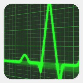 Trace d'impulsion de battement de coeur autocollant carré