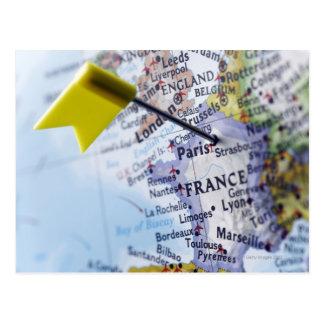 Tracez la goupille placée à Paris, France sur la Carte Postale