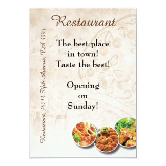 Tract de restaurant carton d'invitation  12,7 cm x 17,78 cm