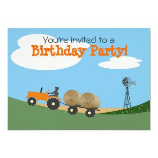 Tracteur à l'invitation de partie de ferme : carton d'invitation  12,7 cm x 17,78 cm