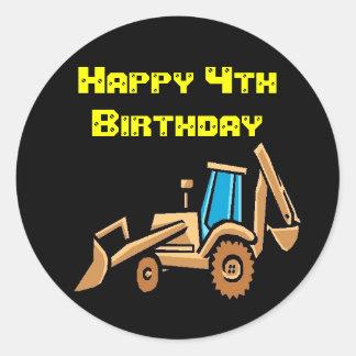 tracteur, anniversaire ! sticker rond