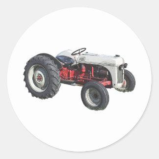 tracteur autocollant rond