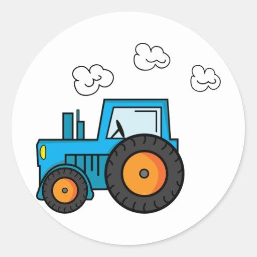 Tracteur bleu autocollant rond