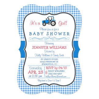 Tracteur bleu de ferme, baby shower de fille de carton d'invitation  12,7 cm x 17,78 cm