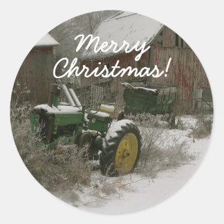 Tracteur dans le joint d'enveloppe de Noël de Sticker Rond