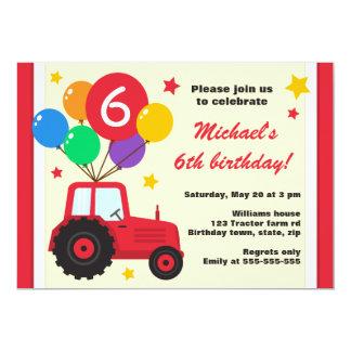 Tracteur de ferme avec la partie d'anniversaire de carton d'invitation  12,7 cm x 17,78 cm