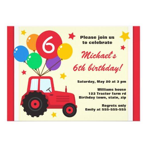 Tracteur de ferme avec la partie d'anniversaire de invitations personnalisables