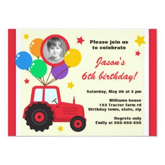 Tracteur de ferme avec la photo d'anniversaire de carton d'invitation  11,43 cm x 15,87 cm