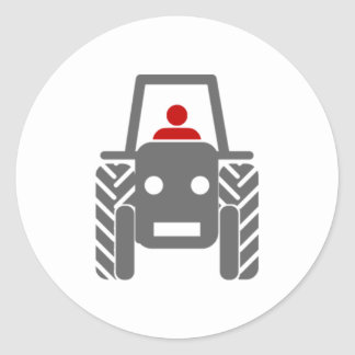 Tracteur de ferme sticker rond