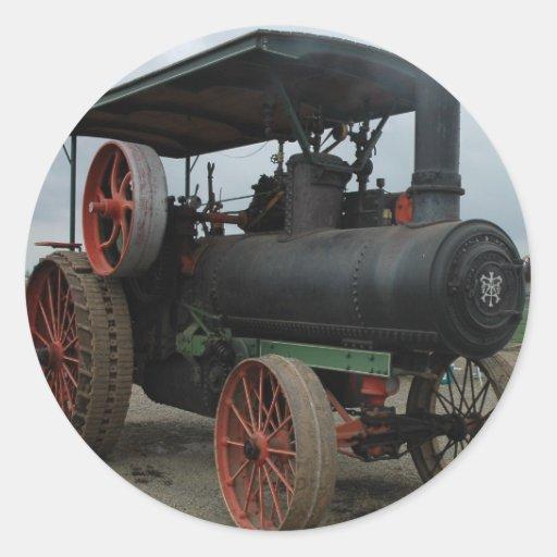 Tracteur de hot rod autocollant rond