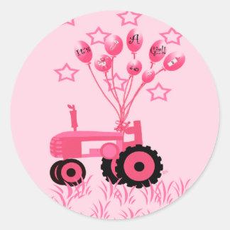 Tracteur de roses pâles avec des autocollants de