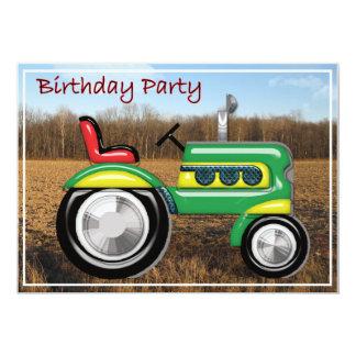 Tracteur de Teriffic et invitation verts Carton D'invitation 12,7 Cm X 17,78 Cm