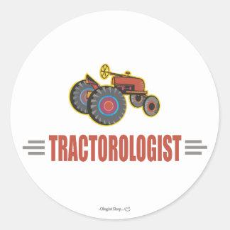 Tracteur drôle sticker rond