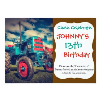 Tracteur frais de cru de rouge bleu carton d'invitation  12,7 cm x 17,78 cm